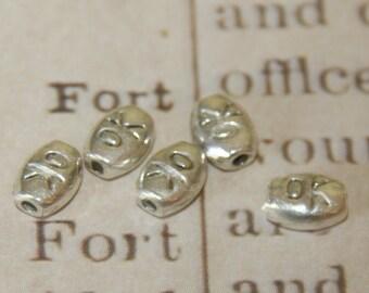 "10 oval ""OK"" silver metal beads 7x5x3mm"