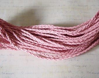 1 m soft pink leatherette braided cord