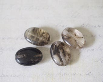 4 oval quartz beads, marbled and smoky gray/transparent 18x13mm