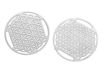 2 charms filigree flower of life (4) silver metal 30mm