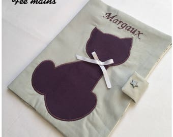 Custom health booklet protection cover with a cat embroidered baby's name to personalize
