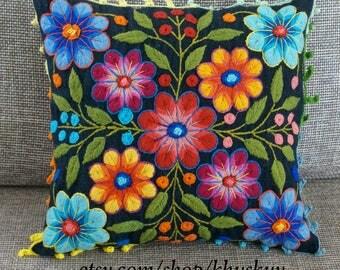 Decorative Pillow cover Blue embroidered flowers Sheep & alpaca wool 16 x 16 handmade Peruvian Textiles Hippie Boho vintage cushion