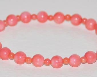 Coral Stretch Bracelet, Peach Coral, Peachy Pink Bead Bracelet, Gemstone Healing, Meditation, Protection, Balance, Love, Happiness Bracelet
