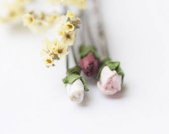 Pastel Rose Bobby Pins Set, Flower Hair Pins, Pink Adorable Flower Bobby Pin Set