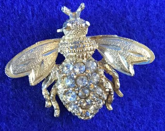 1950s Diamante and Goldtone Bee Brooch