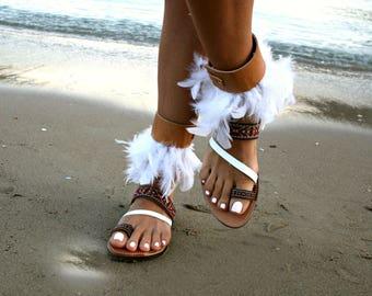 Valentines gift-Ankle strap Sandal-3 in 1 sandals-Nemesis-Feather sandals-Fringe trim sandals