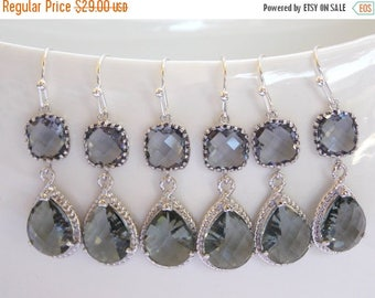 SALE Bridesmaids Jewelry,Wedding Jewelry, Grey Earrings, Gray, Charcoal, Silver, Bridesmaids Gifts,Gray, Dangle, Bridesmaids Jewelry, Bride