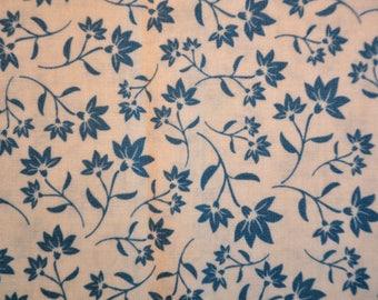 Destash fabric Riley Blake cotton 1/2  yard cream and blue floral