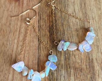 Opal Earrings - 14k Gold Filled Opal Earrings - Opal Dangle Earrings - Raw Opal Earrings - Gold Dangle Earrings - Opal - Opal Jewlery