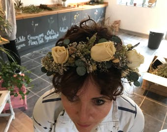 Beautiful Bespoke Handmade Winter Floral Crown with preserved roses, eucalyptus, Flower Garland Wedding Hair Piece, Bride, Bridesmaid bridal