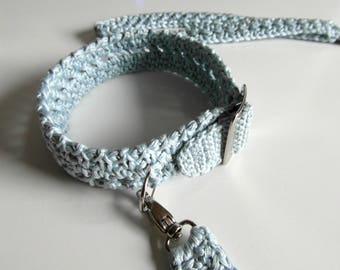 Blue dog collar,Wedding dog Leash,Something Blue dog collar.Crochet dog collar, Matching Leash, Pets Collar- Small dog Collars - Dog Leash