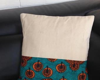 Cushion cover 40 x 40 in African fabric or wax and linen