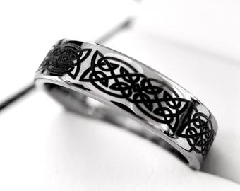tungsten wedding bands celtic design tungsten ring his and her promise ring women