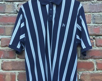 ON SALE Men's Polo Shirt Dark Blue White and Gold Striped