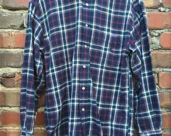 ON SALE Vintage Men's Check Long Sleeve Shirt Dark Blue Size Medium