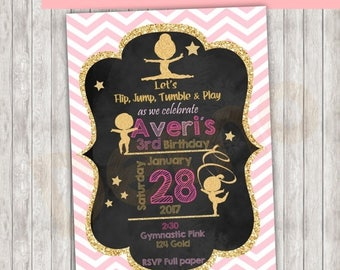 50%Off Gymnastic Pink and Gold Blackboard Invitation, Pink and Gold Gymnastic, Blackboard Gymnastic invite, Gymnastic pink, Gymnastic Gold,