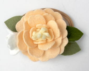 Girl's Felt Floral Headband - Ivory and White  - Felt floral headband  - Soft Sand