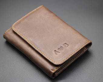 Three Fold Wallet; Genuine Cow Leather Wallet; RFID Shield; Functional Wallet; Men's Wallet; Wedding Gifts; Personalized Wallet
