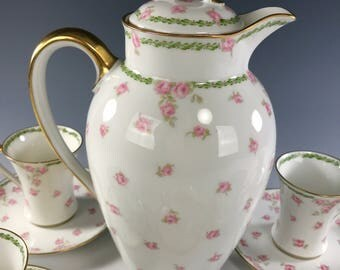 CHARLES FIELD HAVILAND Chocolate Set | Pot and 6 Cups with Saucers | Pink Roses Decoration