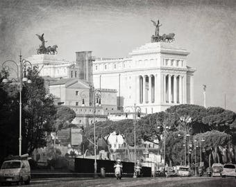 Rome Photography, Black and White, Monument, City View, Rome Print, Travel Decor, Italy, Europe, Wall Art, Rome Italy