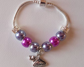 "Charm's Purple charm bracelet with ""FRIENDS"" réf 320"