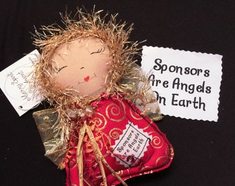 Sponsors are Angels ornament, Angel ornament, Healing Angel, Al-Anon, 12 Step gift, Sobriety Gift, Recovery gift, Sponsor Angel #36