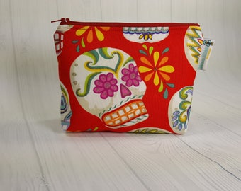 Zipper Notions Pouch Glitter Sugar Skulls on Red, Mini Zippered Wedge Bag, Craft Pouch NP0032