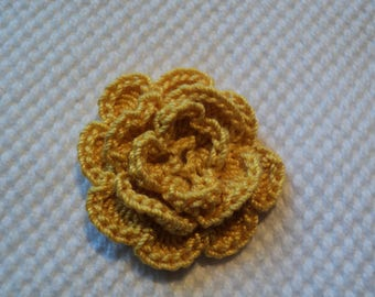 SET of 10 flowers yellow ochre to CROCHET for EMBELISSEMENT ref: z37