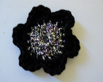 10 black SCRAPBOOKING CROCHET flowers, silver