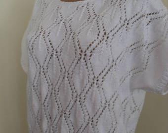 White  hand-knit summer soft cotton yarn sweater, knitwear and jewelery