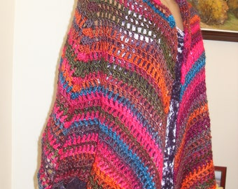 Wonderful wool scarf, with rainbow colors, knitted on a hook, cloak