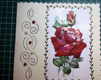Red Roses - hand made 3D card