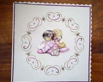 Little girl and her cub - map 3 D Embroidered handmade