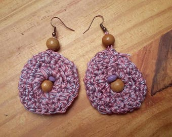 Earrings made with crochet cotton purple mauve tones and roses and assorted wood beads
