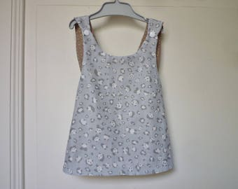Baby top - tunic cross in the back - reversible - pandas and polka dots