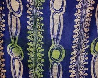 Blue Green and White Batik Scarf