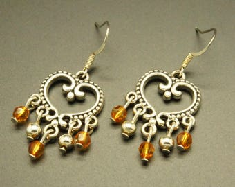 Romantic faceted Orange and Silver earrings