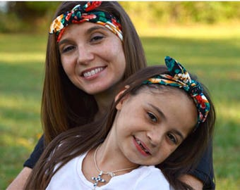 Black Floral Mommy and Me headband Set