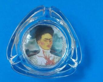 Handmade Frida Kahlo Glass Ashtray, Frida Kahlo, Smoke Accessory, Glass Ashtray, Made By Mod.