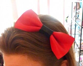 Headband bow XXL leather rock' rockin Red