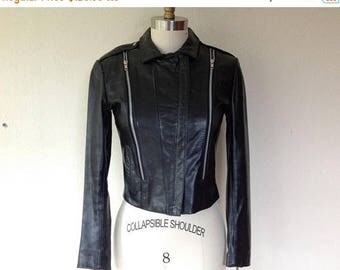 SALE 1990's Black leather motorcycle jacket
