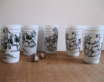 Vintage 5 Borden's Elsie The Cow White Milk Glass Tumblers-Hazel Atlas 1950's-Set of 5...Reshopgoods