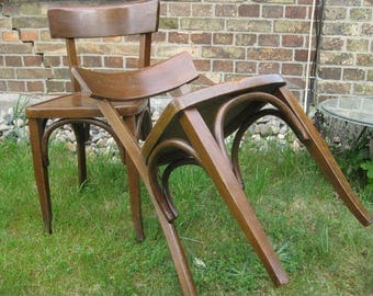 Two cafe-style chairs, vintage wooden chair, Viennese charm-double brown