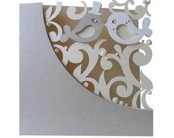 Wedding Card , Love Birds , Pearls , Rhinestones , Flourish , Elegant , Classic , Bride , Groom , PaperCut