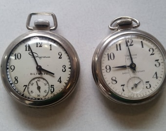 2 Pocket Watches to Rejuvenate!  Make a bracelet, one is ticking...great piece for a shadowbox...Ingraham & Westclox