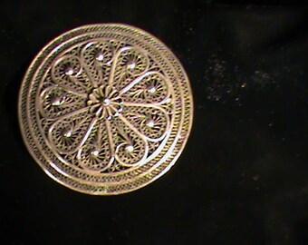 Silver Round Filigree Art Pin