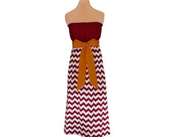Deep Red + Gold Chevron Maxi Dress