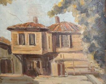 Vintage art oil painting house landscape