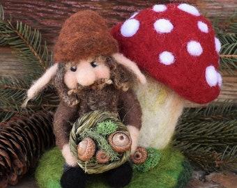 Needle Felted Troll, Troll and Mushroom, Norse Mythology, Fairytale Decor, Fairy Garden, Fantasy Figure, Fiber Art