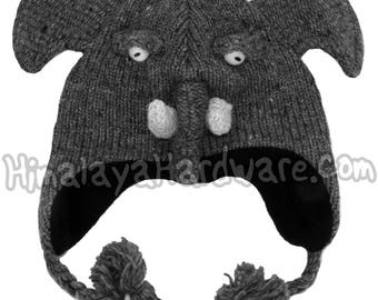 Knit Wool Elephant Hat: ear flap beanie winter cute youth child adult girls boys face
